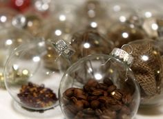 Easy DIY Christmas Decorations. Coffee beans in glass ornaments.