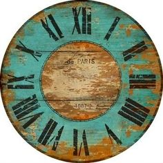 Imagine making this clock face and using a moss/lime green instead of the turquoise. Make A Clock, Diy Clock, Clock Decor, Vintage Maps, Vintage Posters, Vintage Labels, Vintage Ephemera, Wood Clocks, Antique Clocks