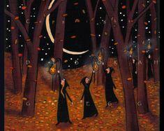 I'm Gonna Let It Shine  a small Autumn Fall Leaves Gourd Lantern PRINT by Deborah Gregg
