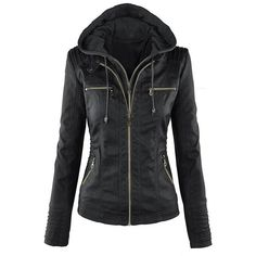 Yoins Black Fashion Zipped Jacket With Removable Hood (200 BRL) ❤ liked on Polyvore featuring outerwear, jackets, black, zipper jacket, vegan leather jacket, detachable hood jacket, zip jacket and fake leather jacket