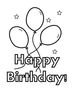 Easy Coloring Pages, Coloring Sheets For Kids, Coloring Pages To Print, Printable Coloring Pages, Coloring Birthday Cards, Happy Birthday Coloring Pages, 30th Birthday Balloons, Birthday Wishes, 24 Birthday