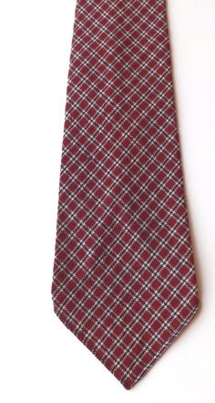 VINTAGE 1940s/1950s PURE WOOL NECK TIE Burgundy Blue White Plaid Weave FREE P&P #MeakersofPiccadilly #NeckTie