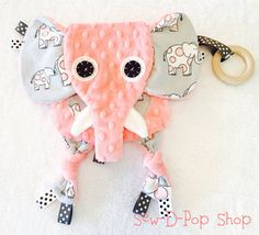 Mini Elephant Animal Lovey Tag Blanket Pacifier Wooden Organic Ring Baby Toy