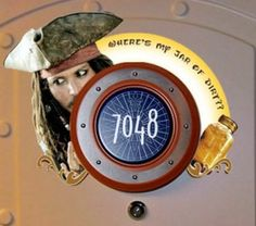 This was the coolest sign for our stateroom door on our last cruise! No one else had a Captain Jack Sparrow!  Disney Cruise Door Decorations
