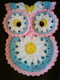 Crochet Daisy Owl potholder pattern only by 3ThreadinBettys