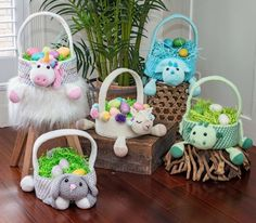 Easter with a bit of hop! All ages will enjoy a Dragon Easter Basket for collecting dragon eggs or for a nice storage basked for toys. Animal Print Purses, Animal Bag, Easter Crochet Patterns, Crochet Bunny, Ravelry, Lion Brand, Bunny Supplies, Toy Storage Baskets, Kids Storage