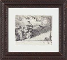 """ERIK WERENSKIOLD VINGER 1855 - OSLO 1938  """"Prinsessen og troldet utkast til en radring"""" 1907 Penn på papir, 23x27 cm Initialsignert og datert nede til venstre: E.W. 1907"""