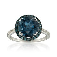 4.05 Carat Blue Topaz Ring With Diamond in 14kt White Gold