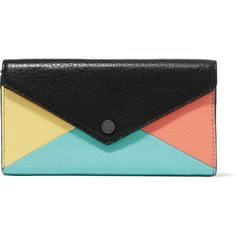 Marc by Marc Jacobs Tomoko color-block textured-leather wallet ($94) ❤ liked on Polyvore featuring bags, wallets, black, snap wallet, block bag, marc by marc jacobs, marc by marc jacobs wallet and blocking wallet