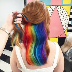 Looking back at the best of 2016 hair trends. Last year was an eventful year for. Looking back at the best of 2016 hair trends. Last year was an eventful year for rainbow hair trends. Metallic hair, glow in the dark hair. and much more! Hair Color Underneath, Under Hair Color, Short Rainbow Hair, Hidden Rainbow Hair, Ombre Hair Rainbow, Rainbow Hair Colors, Rainbow Pastel, Hair Styles 2016, Dyed Hair