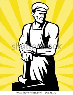 vector illustration of a Blacksmith posing with a hammer with sunburst in background done in retro woodcut style. - stock vector #blacksmith #woodcut #illustration
