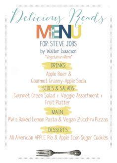 Delicious Reads: Book Club ideas for Steve Jobs {by Walter Isaacson} Vegan menu