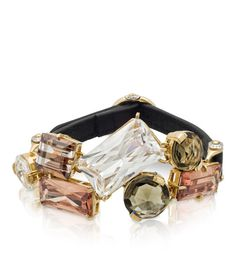 Stone Cluster Bracelet. Signature Henri Bendel striped cubic zirconia with French leather strap and buckle closure.
