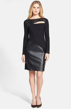 DKNYC Ponte & Faux Leather Sheath Dress | Nordstrom.  This is badass