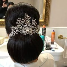 FABULOUS low bun bridal hair style, accented with a sparkling custom head piece. (bridal updo with hairpiece) Low Bun Bridal Hair, Bridal Hairdo, Bridal Hair And Makeup, Headpiece Wedding, Hair Makeup, Wedding Updo, Black Wedding Hairstyles, Bride Hairstyles, Celebrity Hairstyles