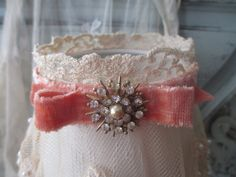 Lace Lamp Shade with Velvet Ribbon and Vintage Jewelry - Lighting Housewares on Etsy, $34.00