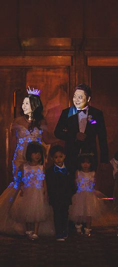This Bride Wore a Glow-In-The-Dark Dress for Her Singapore Wedding Bridal Dresses, Wedding Gowns, Wedding Entourage, Dark Flowers, Top Blogs, Page Boy, Bridal Tiara, Flower Girls, The Darkest