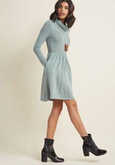 Honoring Hygge Dress in Heather Blue - Take a page from Danish culture and embrace the weather's chill by snuggling into this pastel blue dress! Featuring a dramatic cowl neck, gathered waist, and super-soft heathered knit, this ModCloth-exclusive frock will keep you cozy for an evening spent cooking at home with friends, surrounded by soft candlelight.