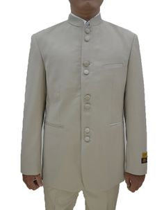 This particular mandarin suit comes in a beautiful tetron-rayon fabric, that is wrinkle resistant, and soft to the touch. It has an 8 satin covered button closure, besom pockets, non-vented, traditional cut flat front pants. #PromTuxedo #Tuxedo #TanTuxedo #WeddingTuxedo #PromTux #WeddingTux #Tux #Wedding #Prom