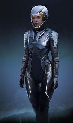 by Oleg_ Ovigon on ArtStation. Futuristic Armour, Futuristic Art, Futuristic Technology, Space Armor, Cyberpunk Character, Alien Character, Female Armor, Sci Fi Armor, Armor Concept