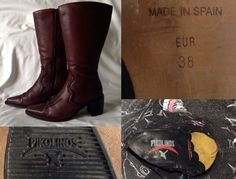 2000's PIKOLINO Long Brown Genuine Leather High Heeled Cowboy Boots Women Ladies Size 38 UK 5