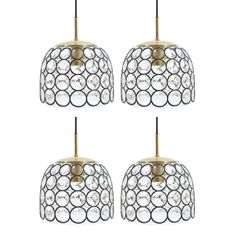 Limburg One of Four Large Midcentury Iron and Glass Pendant Lamps