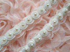 Vintage White Pearl Lace, Wedding Bridal Pearl Lace, Newborn Headband, Wedding décor