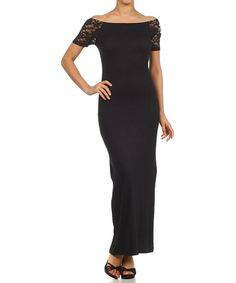 Another great find on #zulily! Black Lace Boatneck Maxi Dress - Women #zulilyfinds