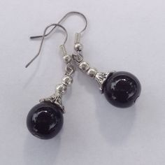 Black Jade Earrings Fashion earrings silver tone. New! Jewelry Earrings