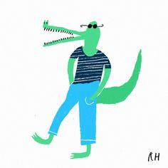 Et toi le crocodile habillé par rob #hodgson #design #illustration #baby #enfant #graphism