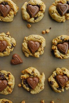 Chocolate Peanut Butter Heart Chip Cookies for Valentine's Day