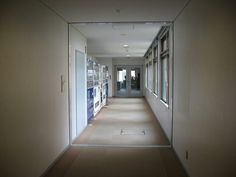 The hallway leading to AP House, R building