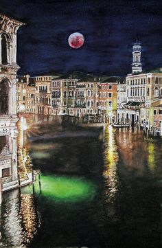 Red Moon, Aquarelle 38 x Fabriano 300 gr, Original price: 800 Euro, exclusive high end imprint on aquarelle paper - 100 Euro Red Moon, Euro, The Originals, Live, Paper