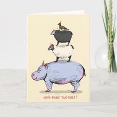 Hippo, Birdie, Two Ewes! Birthday Card Funny Birthday Cards, Birthday Greeting Cards, Custom Greeting Cards, Card Birthday, Birthday Invitations, Happy Birthday, Birthday Gifts, Horse Birthday, Animal Birthday
