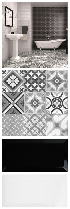 Mix brick shaped metros and patterned Zeinah Tiles for a striking monochrome / Moroccan mash up in a bathroom or kitchen! - Mix brick shaped metros and patterned Zeinah Tiles for a striking monochrome / Moroccan mash up in a bathroom or kitchen! Cheap Bathroom Flooring, Cheap Bathroom Remodel, Cheap Bathrooms, Kitchen Flooring, Small Bathroom, Kitchen Backsplash, Bathroom Ideas, Bathroom Black, Black Backsplash