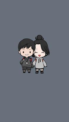 Cute Couple Drawings, Cute Cartoon Drawings, Cute Couple Cartoon, Cute Couple Art, Cute Love Cartoons, Cartoon Art, Chibi Wallpaper, Cute Girl Wallpaper, Kawaii Wallpaper