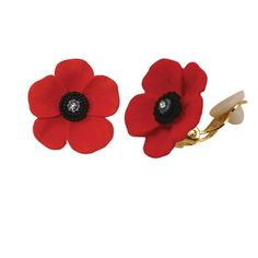 Moda Red Enamel Poppy Flower Gold Tone Pendant Necklace