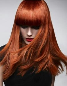 Copper red - auburn hair - blunt fringe bangs