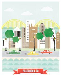 8x10 Pittsburgh por confettielove en Etsy