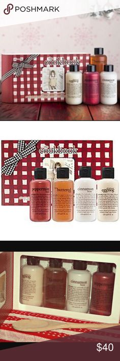 Philosophy Holiday Cookbook Collection NWT Philosophy Holiday Cookbook Collection NWT includes 4 best selling holiday scents all sealed and in an adorable flip top collectors box! Philosophy Makeup