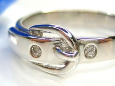 1/2 Diamonique Buckle 18K Clad Sterling Silver Ring #SterlingSilverProducts