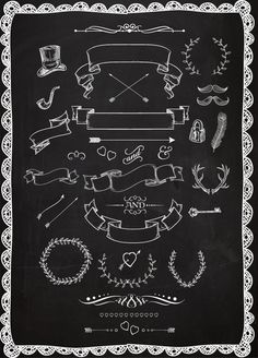 Chalkboard clipart Laurels Ribbons Wreaths by BlackCatsMedia Chalkboard Clipart, Chalkboard Doodles, Blackboard Art, Chalkboard Writing, Chalkboard Lettering, Chalkboard Designs, Chalkboard Banner, Chalkboard Drawings, Chalkboard Paint