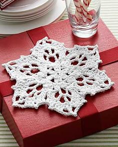 A lovely snowflake dishcloth{motif} ~ free pattern