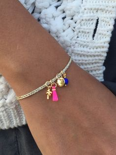 Items similar to EMY - Personalized braided bracelet - Button clasp - Charms Glass Beads and Pom pom on Etsy Cute Jewelry, Diy Jewelry, Beaded Jewelry, Jewelery, Jewelry Accessories, Handmade Jewelry, Jewelry Design, Fashion Jewelry, Jewelry Making