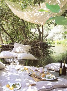 """Shall we picnic in the garden, my darling?"" said she.  ""I couldn't imagine anything more lovely."" he replied."