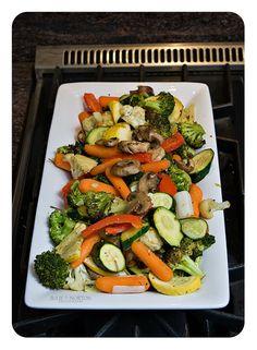 Roasted veggies   recipe here: http://norton5-julie.blogspot.com/2010/07/roasted-veggies.html