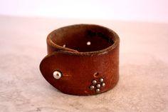 Women's handmade brown leather cuff, leather bracelet