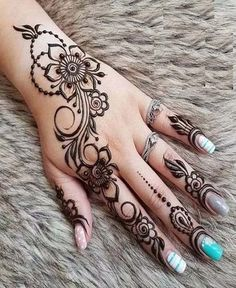 Henna Tattoo Designs Gallery - Wedding Henna Designs for Brides Images collection. this is new collection wedding henna tattoo designs for bride Pretty Henna Designs, Wedding Henna Designs, Henna Tattoo Designs Simple, Finger Henna Designs, Arabic Henna Designs, Mehndi Designs For Fingers, Mehndi Art Designs, Easy Simple Mehndi Designs, Cone Designs For Hands