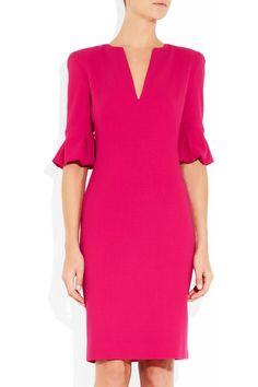 Alexander McQueen|Bell-sleeved wool-crepe dress|NET-A-PORTER.COM