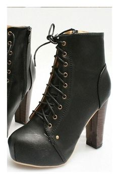 Lace rivets high shoes, featuring the ankle length design, rounded toe, lace up closure with metal eyelets, stitched trims, rivets detail, zip closure to the side, platform to the front, a slim rubber sole with a high stacked heel.
